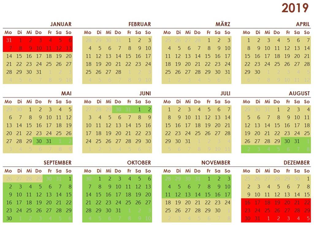 Saisonkalender 2019
